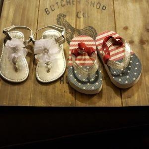 2 pairs size 4 sandals NWOT
